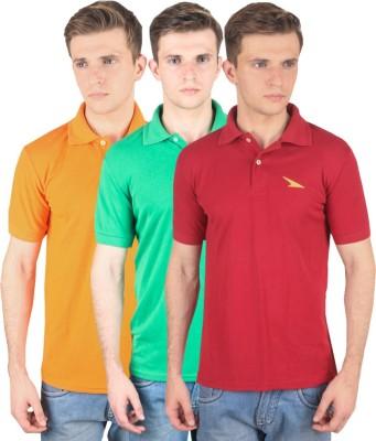 PRO Lapes Solid Men's Polo Neck Orange, Green, Maroon T-Shirt