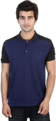 Shra Solid Men's Polo Neck Dark Blue, Black T-Shirt