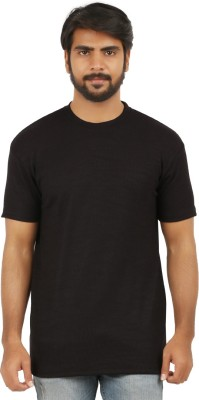 curviva Striped Men's Round Neck Black T-Shirt