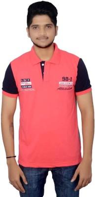 Lemon Slice Solid Men's Polo Neck Pink, Grey T-Shirt
