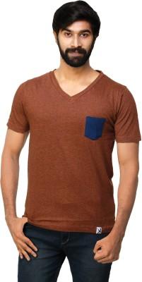 0EM Solid Men's V-neck Brown T-Shirt