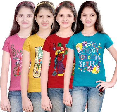 Sinimini Printed Girl's Round Neck T-Shirt
