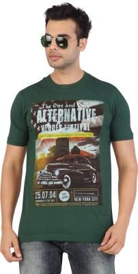 Free Spirit Printed Men's Round Neck Dark Green T-Shirt