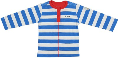 Buzzy Striped Baby Boys Round Neck Blue, White, Red T-Shirt
