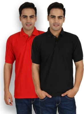 Larwa Solid Men's Polo Neck Red, Black T-Shirt