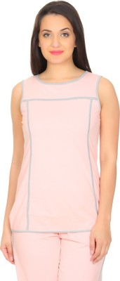 Rute Solid Women's Round Neck Pink, Grey T-Shirt