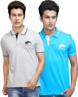 CATAMONT Solid Men's Polo Blue, Grey T-Shirt