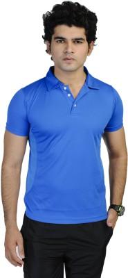 T10 Sports Solid Men's Polo Dark Blue T-Shirt