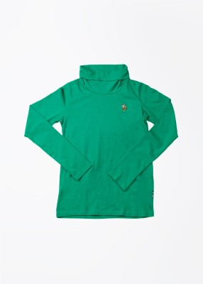 U.S. Polo Assn. Solid Girl's Turtle Neck Green T-Shirt