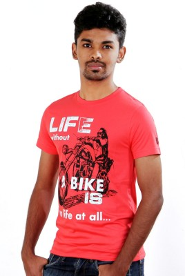 S CUBE Printed Men's Round Neck Red T-Shirt