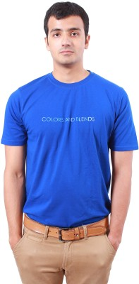 Colors and Blends Solid Men,s Round Neck Blue T-Shirt