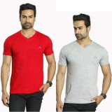 Albiten Solid Men's V-neck Red, Grey T-S...
