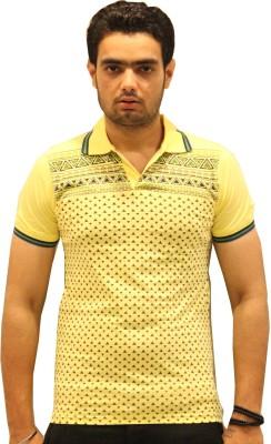 GOPAL EMPORIUM Printed Men's Flap Collar Neck Yellow T-Shirt