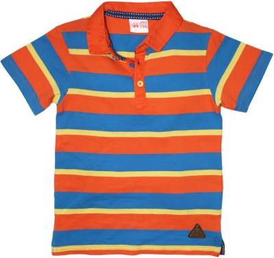 FS Mini Klub Printed Boy's Polo Neck Orange T-Shirt