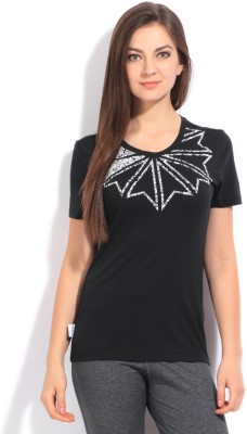 Reebok Classic Printed Women's Round Neck Black T-Shirt