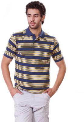 D-Green Striped Men's Polo Dark Blue, Yellow T-Shirt