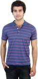SHRA Striped Men's Polo Neck Blue, Red T...