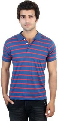 Shra Striped Men's Polo Neck Blue, Red T-Shirt