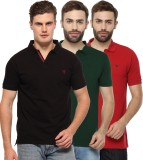 Youthen Solid Men's Polo Neck Green, Bla...