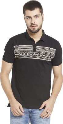 Globus Printed Men,s Polo Neck Black T-Shirt