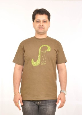 Stallion Cottons Printed Men's Round Neck Light Green T-Shirt