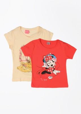 Cherish Printed Girl,s Round Neck Beige, Red T-Shirt