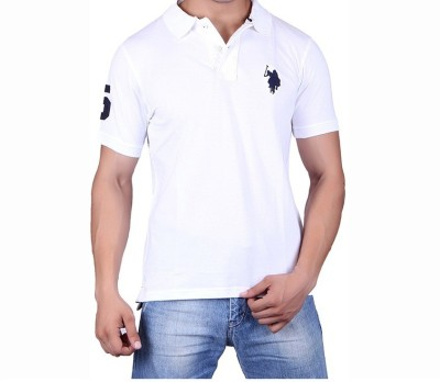 Ganesh Creation Solid Men's Polo Neck White T-Shirt