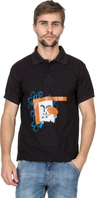 Aziteez Printed Men's Polo Neck Black T-Shirt