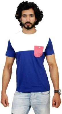 Men In Class Self Design Men's Round Neck Blue T-Shirt