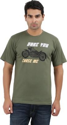 UV2 Printed Men's Round Neck Dark Green T-Shirt