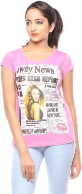 Trendy Girlz Printed Women's Round Neck Pink T-Shirt