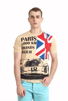 Teen Tees Printed Men,s Round Neck Beige T-Shirt
