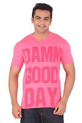Radbone Printed Men's V-neck Pink T-Shirt