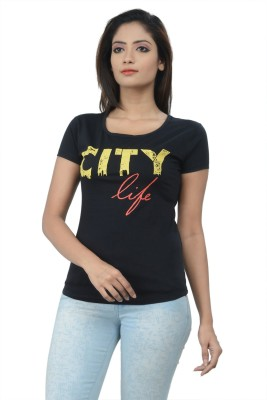 TSG Breeze Printed Women's Round Neck Black T-Shirt