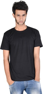 Whistle Solid Men's Round Neck Black T-Shirt