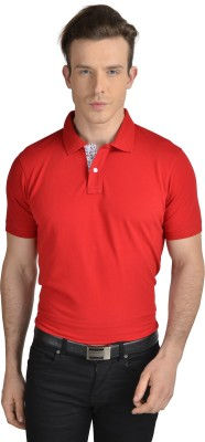 Pacific Time Solid Men's Polo Neck Red T-Shirt