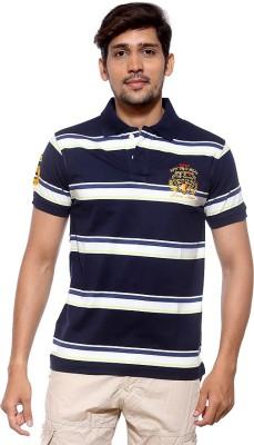 Sports 52 Wear Striped Men's Polo Neck Dark Blue T-Shirt