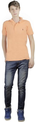 Clive Rogers Solid Men's Polo Orange T-Shirt
