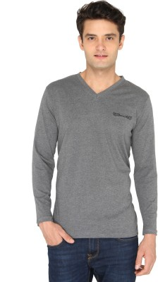 Chromozome Solid Men's V-neck Grey T-Shirt
