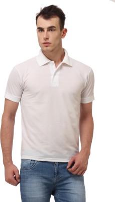 Lime Fashion Solid Men's Polo White T-Shirt