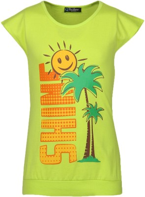 Cool Quotient Printed Baby Girl's Round Neck Green T-Shirt