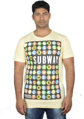 Mr Sha Printed Men's Round Neck Yellow T-Shirt
