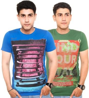 Zwizdot Printed Men,s Round Neck Green, Blue T-Shirt