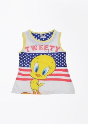 Tweety Printed Girl's Round Neck White, Yellow T-shirt