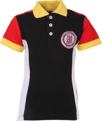 Cool Quotient Self Design Boy's Polo Neck Multicolor T-Shirt