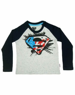 Superman Printed Boy's Round Neck White T-Shirt