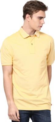 Mudo Solid Men's Mandarin Collar Yellow T-Shirt
