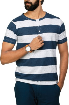 UnKonventional Striped Men's Henley White, Blue T-Shirt