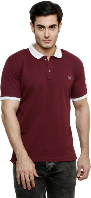 ominous Solid Men,s Polo Neck Maroon T-Shirt