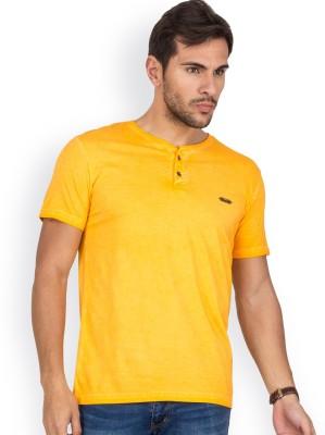 Blue Monkey Self Design Men's Henley Orange T-Shirt